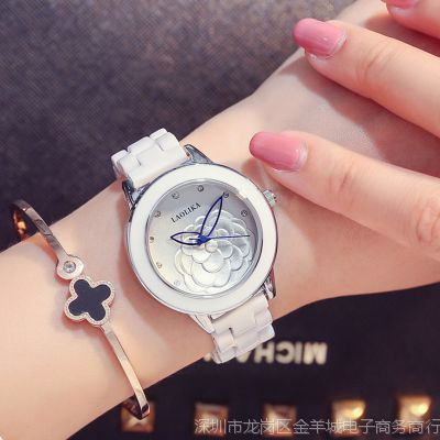 超薄女表石英手表时尚简约镶钻陶瓷女士手表防水手镯表