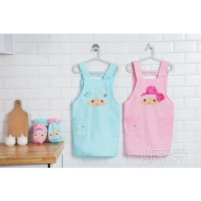 家居卡通纯棉围裙 可爱双子星围裙+袖套 套装 厨房 防油防脏围裙