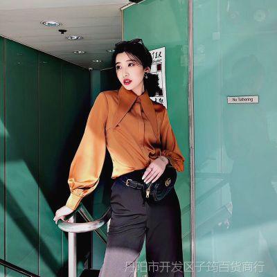一件代发秋装新款2018韩版宽松衬衫女雪纺衬衣灯笼袖气质优雅纯色
