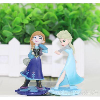 冰雪奇缘主角2款爱莎 安娜公主公仔手办玩具 微景观摆件蛋糕装饰