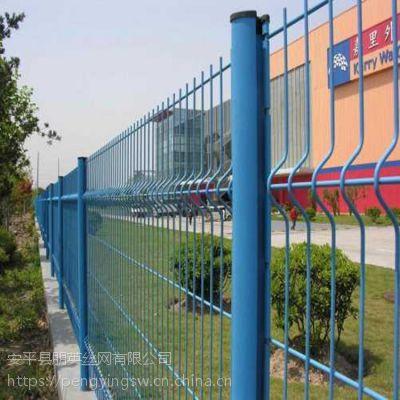 朋英 厂家供应 道路铁丝围栏网 绿色铁丝双边护栏