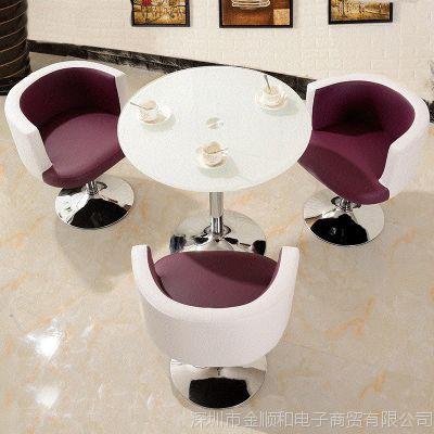 jsh阳台喝茶桌椅组合迷你客厅接待茶几简约休闲玻璃小圆桌子