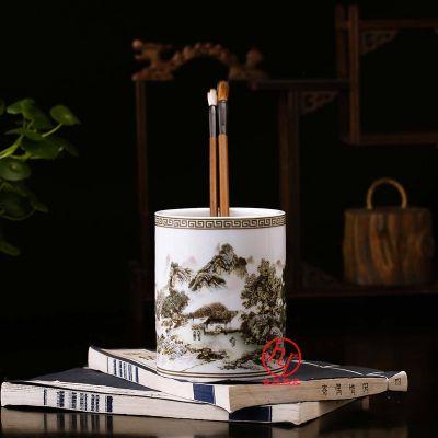 陶瓷笔筒印制书法文字,办公文具笔筒定制工厂