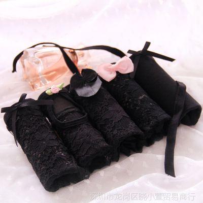 【】黑色5条礼盒装内裤女士性感网纱透明蕾丝蝴蝶结系带