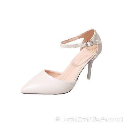 小码女鞋31 32 33单鞋尖头一字扣凉鞋大码高跟鞋细跟40 41 43春夏