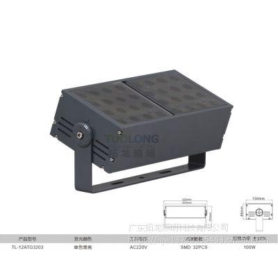 拓龙照明新款双头模组led投光灯 小角度 白光 红光 100瓦 IP66 防水方形投光灯