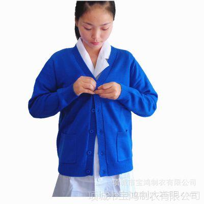 秋季新品女装V领修身针织小外套短款空调衫纯色护士毛衣小开衫厚