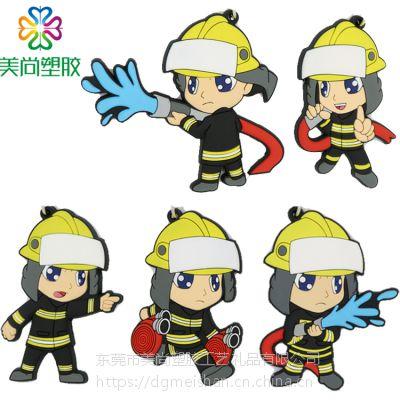 现货 PVC软胶消防员钥匙圈 卡通消防员钥匙圈 PVC消防员钥匙圈