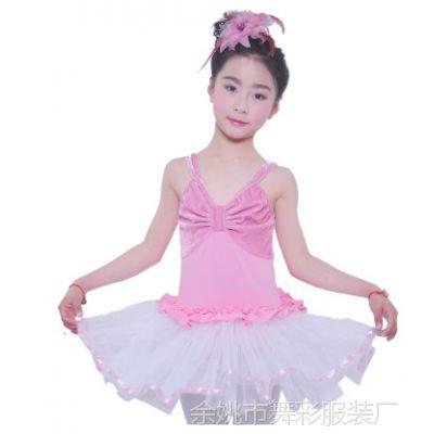 春夏儿童练功服舞蹈服芭蕾体操服金丝绒双吊带连体纱裙可批发印字