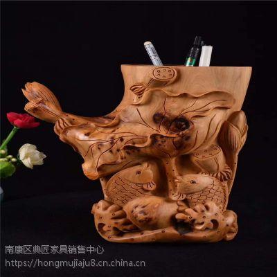 太行崖柏木雕雕刻连年有余笔筒教师节礼物 家具办公桌面笔挂笔插 木质工艺品摆件