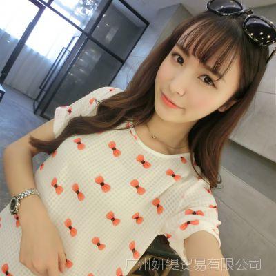 2016春夏新款韩版印花短袖雪纺衫上衣打底t恤衫圆领女装