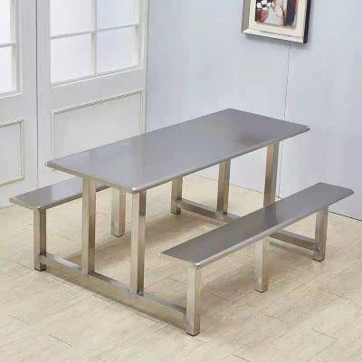 石家庄产地货源学生食堂餐桌4人6人8人员工饭堂连体不锈钢 快餐桌椅