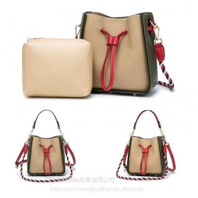 西尚 XS-WT8007 头层牛皮斜挎时尚手提单肩水桶包