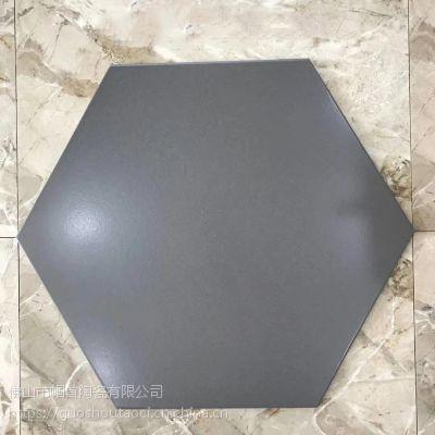 大规格纯色六角砖520*600黑色白色灰色六边形地砖