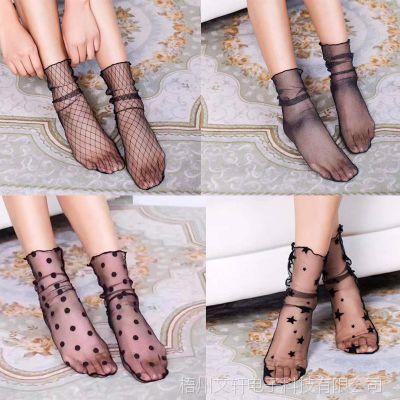 女短袜渔网袜夏季性感蕾丝黑色袜子镂空透明甜美少女百搭丝袜