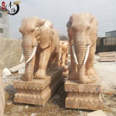 2米高石雕大象 大理石汉白玉镇宅大象 酒店门口摆放