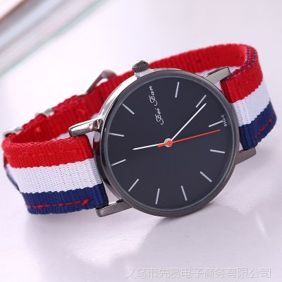 速卖通ebay淘宝热卖 时尚男士女士尼龙带 皮带 帆布石英手表