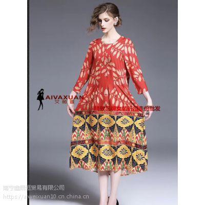 杭州真丝连衣裙19夏 一线品牌女装批发 品牌折扣尾货批发