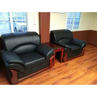 雷业办公沙发现代商务会客区接待室真皮办公室沙发茶几组合