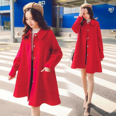 外贸原单尾货女式秋冬季韩版呢子大衣加厚中长款杂款女装毛呢外套