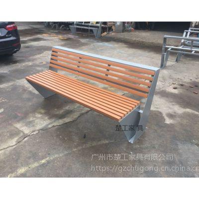 不锈钢室外长凳-实木公园长条凳-创新铁艺坐凳