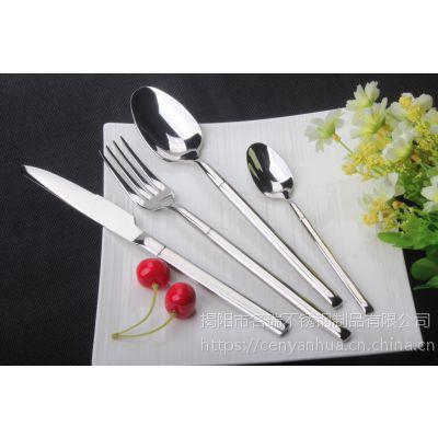 304不锈钢餐具 圆柄刀叉勺 镀钛西餐牛排刀叉名瑞餐具厂批发