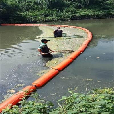 天津城镇河道拦污浮筒 水面红色拦污索 拦污栅浮桶