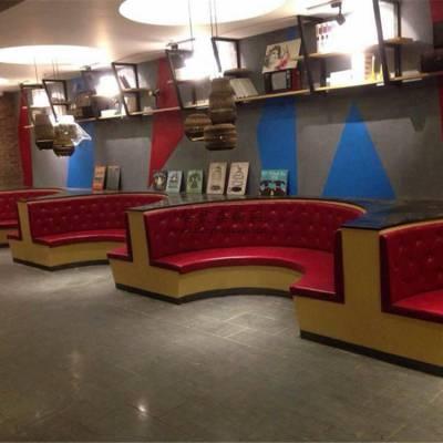 黔东南弧形卡座沙发定制,酸菜鱼店卡座沙发