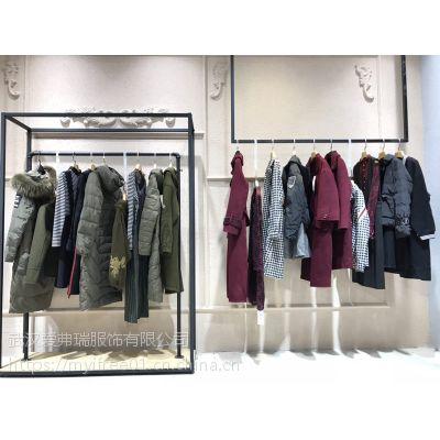 女装店货源迪丝雅18款折扣冬装羽绒服大衣货源