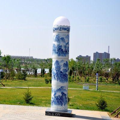景德镇陶瓷青花路灯可定制个性图案灯柱厂家给城市建设添砖加瓦