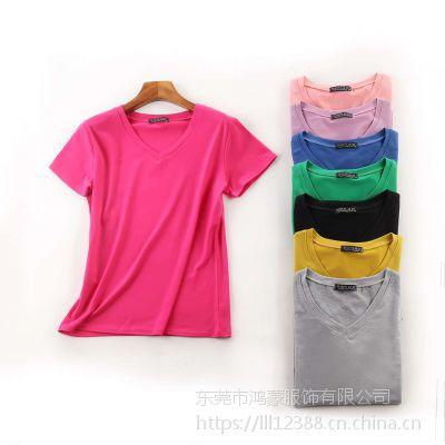 韩版春夏季女装T恤批发纯棉女装圆领短袖T恤净板净色T恤厂家直销批发