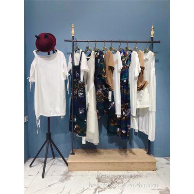 山水雨稞雪纺印花连衣裙品牌女装折扣走份批发拿货市场