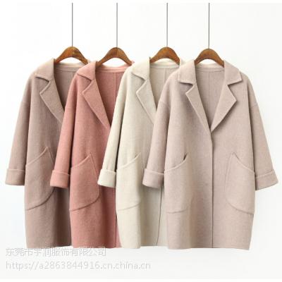 广州便宜女式毛呢外套清仓时尚韩版中长款呢子大衣清仓加厚宽松羊绒大衣处理