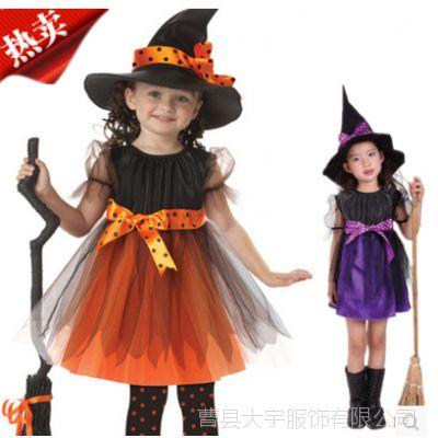 万圣节儿童巫婆服装女童化妆舞会女巫女孩演出宝宝cosplay衣服