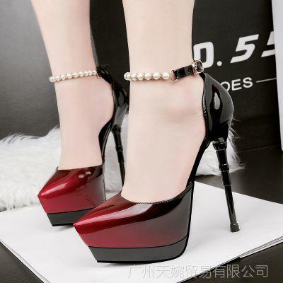 219-10韩版时尚尖头夜店防水台高跟鞋性感一字带细跟拼色串珠凉鞋