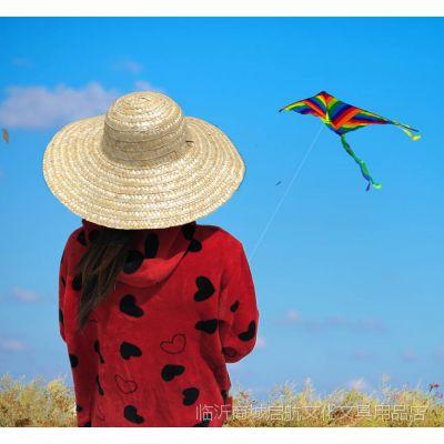 幼儿园绘画草帽创意涂鸦diy草帽可佩戴教室装饰编制草帽布置材料