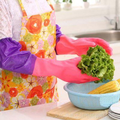 束口加绒橡胶手套 厨房洗碗洗衣手套 防水加厚家务