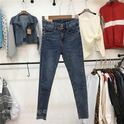 便宜低价牛仔裤清货女装小脚裤铅笔裤冬季加厚牛仔裤批发广州尾货批发市场清