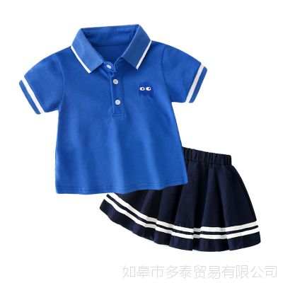 2018新款 ins 爆款 夏季纯棉卡通中小童女孩T恤+裙子套装一件代发