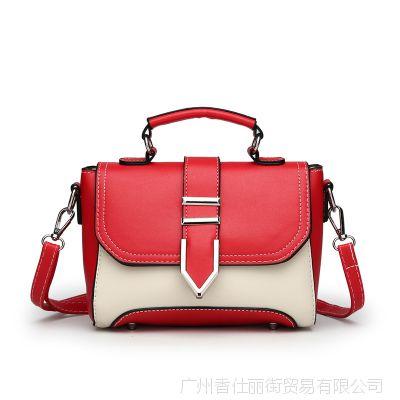 厂家批发夏秋新款时尚女包潮流行撞色女士单肩包百搭斜挎手提包包