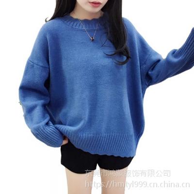 四川乐山服装批发市场在哪里 厂家直销几元一条女士便宜羊毛衫 针织衫批发3-4元一件