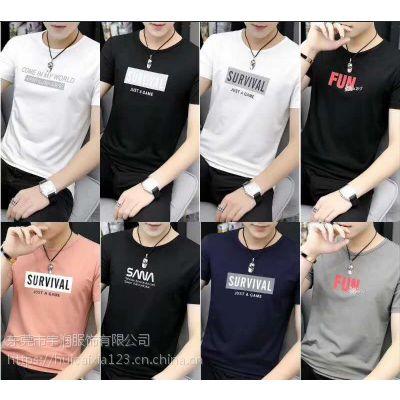 四川最爆款夏季短袖T恤批发 便宜的男装印花圆领地摊几块钱的T恤厂家供应