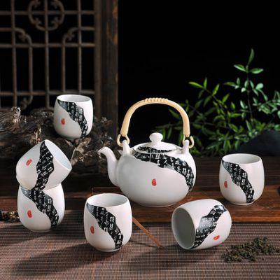 景德镇陶瓷茶杯提梁茶壶一壶六杯套装 功夫茶具冰裂釉茶具