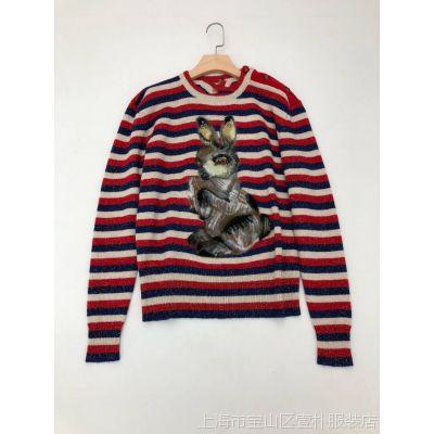 3320420外贸原单女士圆领条纹混金丝小兔提花瓢虫金属装饰羊毛衫