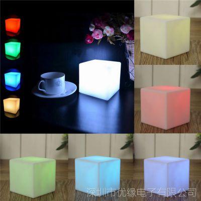 Ebay热销 迷你方形小夜灯 七彩发光变色小夜灯 炫彩装饰节日台灯