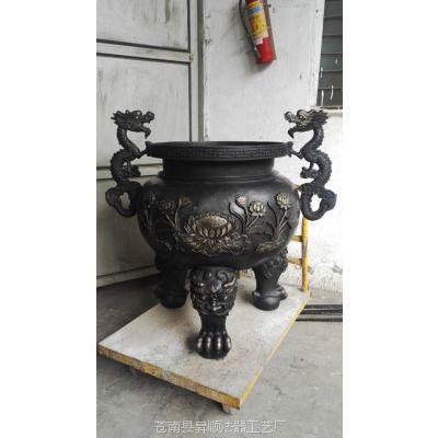 黄铜道观香炉 铸铜大号香炉 紫铜圆形香炉 铜香炉