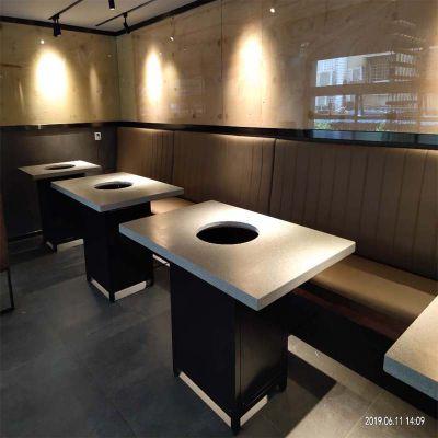 倍斯特现代中式大理石餐桌创意火锅烧烤主题餐厅厂家定制