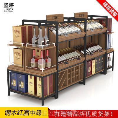 创意红酒展柜展示架陈列柜拆装钢木结合多层葡萄酒货架红酒中岛柜