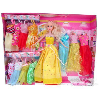 3041实心娃娃配12件衣服/礼服 实惠组合 塑料娃娃 过家家玩具