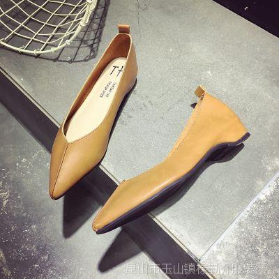 一件代发2018新款女鞋 职业OL黑色百搭尖头单鞋 内增高平底女单鞋